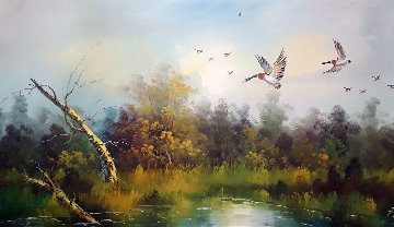 Ducks Scaling Down 42x53 Super Huge Original Painting - Frank Weston Benson