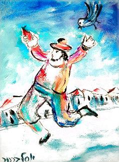Man & Bird 1980 18x15 Original Painting - Yosl Bergner