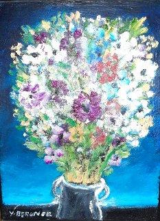 Flowers 1990 20x16 Original Painting - Yosl Bergner