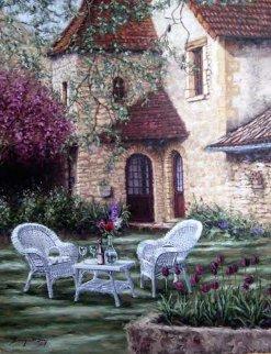 Lyon Chateau 2002 54x44 Original Painting - Stephen Bergstrom