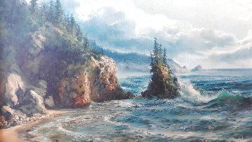 Untitled (Seashore) 1980 28x40 Super Huge Original Painting - Juan Angel Castillo Bertho