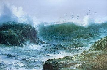Baja Coastline, Untitled 1981 31x43 Original Painting - Juan Angel Castillo Bertho