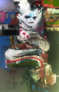 Au Carrefour De Let Range Quotidien 2010 50x26 Original Painting - Dominic  Besner