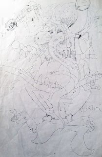 Original Ed Big Daddy Roth Drawing- Rat Fink For Miro! 1998 Drawing - Big Daddy Ed Roth