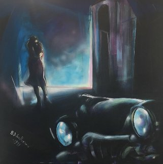 Girl Waiting For Her Lover in a '58 Buick 50x50  Huge Original Painting - Billy Dee Williams