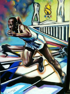 Untitled (Jesse Owens Centennial Olympic Games) 72x60 Original Painting - Billy Dee Williams