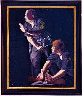 Apprehension of Rodney King With Sgt. Stacey Koon And Officer Lawrence Powell 1992 27x23 Original Painting by Sandow Birk - 1