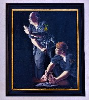 Apprehension of Rodney King With Sgt. Stacey Koon And Officer Lawrence Powell 1992 27x23 Original Painting by Sandow Birk - 2