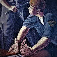 Apprehension of Rodney King With Sgt. Stacey Koon And Officer Lawrence Powell 1992 27x23 Original Painting by Sandow Birk - 5