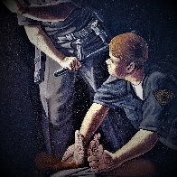 Apprehension of Rodney King With Sgt. Stacey Koon And Officer Lawrence Powell 1992 27x23 Original Painting by Sandow Birk - 4