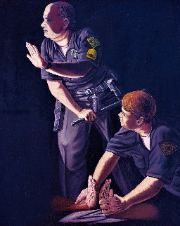 Apprehension of Rodney King With Sgt. Stacey Koon And Officer Lawrence Powell 1992 27x23 Original Painting - Sandow Birk