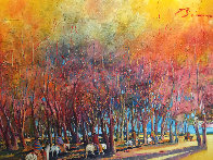 Breaking Through an Autumn Grove 1986 60x92 Original Painting by Earl Biss - 0