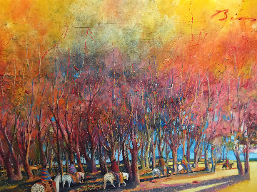 Breaking Through an Autumn Grove 1986 60x92 Original Painting - Earl Biss