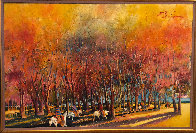 Breaking Through an Autumn Grove 1986 60x92 Original Painting by Earl Biss - 1