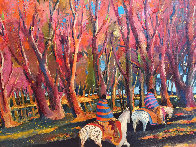 Breaking Through an Autumn Grove 1986 60x92 Original Painting by Earl Biss - 2