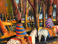 Breaking Through an Autumn Grove 1986 60x92 Original Painting by Earl Biss - 4