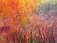 Breaking Through an Autumn Grove 1986 60x92 Original Painting by Earl Biss - 3