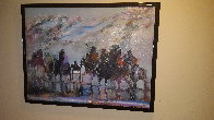 Reflections of Ancestral Warriors 30x39 1991 Original Painting by Earl Biss - 1
