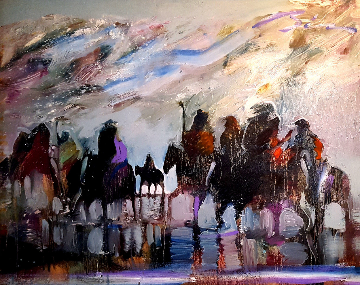 Reflections of Ancestral Warriors 30x39 1991 Original Painting by Earl Biss