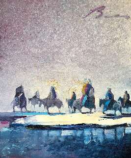 Chief And Friends Reflecting on Winter 1986 28x24 Original Painting - Earl Biss