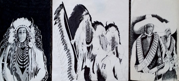 Untitled Set of 3 Drawings- 2 at 14 x 11 inches & 1 at 14 x 17 Inches Drawing by Earl Biss