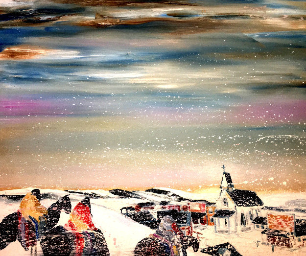 Turn of the Century Winter 1980 44x49 Original Painting by Earl Biss