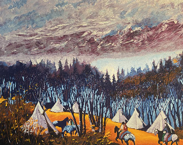 High Campground 39x29 Original Painting by Earl Biss