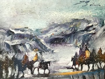 Yes It's Very Cold in Cut Bank Montana Even Now! 1995 37x47 Original Painting - Earl Biss