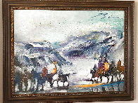 Yes It's Very Cold in Cut Bank Montana Even Now! 1995 37x47 Original Painting by Earl Biss - 2