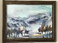 Yes It's Very Cold in Cut Bank Montana Even Now! 1995 37x47 Original Painting by Earl Biss - 1