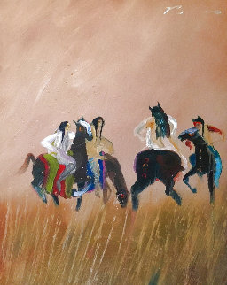 Argument in the Sweet Grass 1980 30x24 Original Painting - Earl Biss