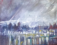 Visions of the Fog in the Morning 1985 42x62 Super Huge Original Painting by Earl Biss - 0
