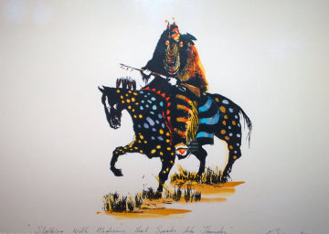 Stalking with Medicine That Speaks Like Thunder 1986 15x20 Unique  Embellished Limited Edition Print by Earl Biss