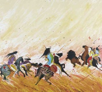 Buffalo Hunt 1980 PP  Limited Edition Print by Earl Biss