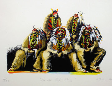 Old Chiefs Posing 1986 Limited Edition Print - Earl Biss