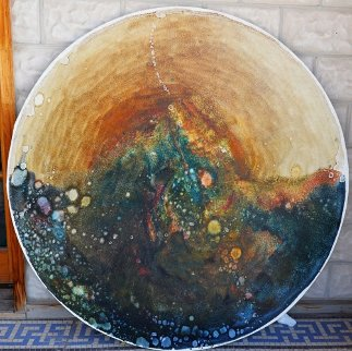 Earth Shield 48 in round Original Painting - Earl Biss