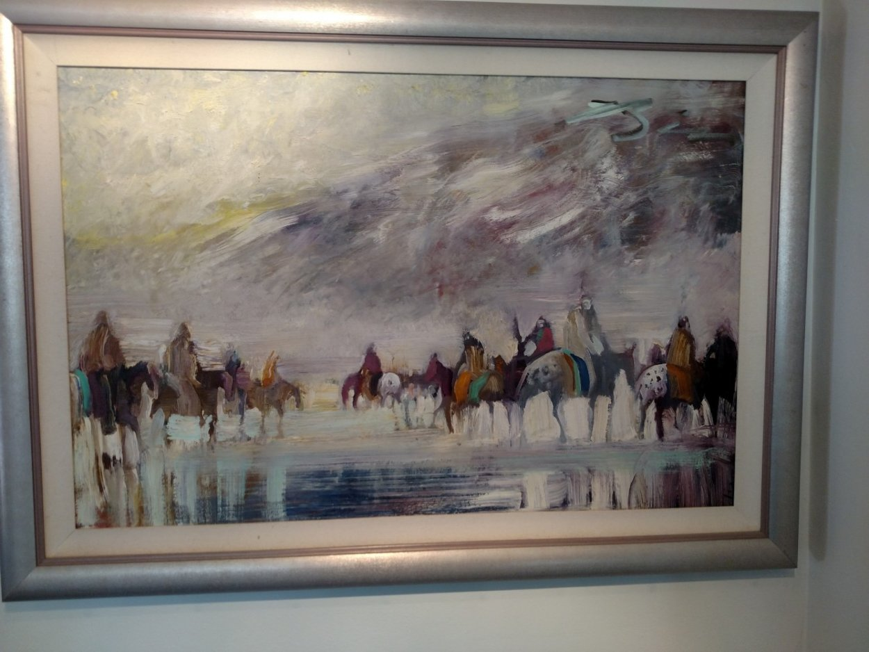Riders on the Plain 1995 42x30 Original Painting by Earl Biss