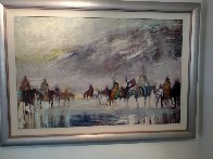 Riders on the Plain 1995 42x30 Original Painting by Earl Biss - 0