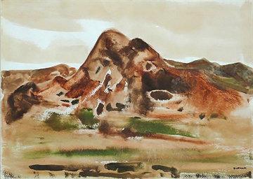Taos Mountain Landscape 26x31 Works on Paper (not prints) by Emil Bisttram