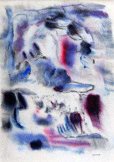 Transcendental Abstract in Blue 1940 32x26 Works on Paper (not prints) by Emil Bisttram
