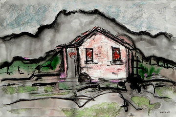 Taos Landscape With the House 1940 12x18 Works on Paper (not prints) by Emil Bisttram