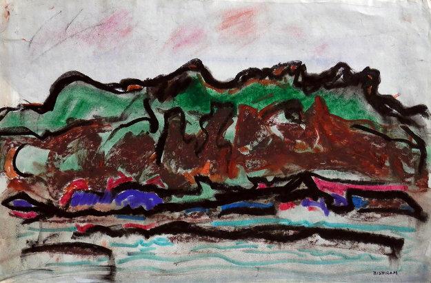 Taos Landscape 21x27 Works on Paper (not prints) by Emil Bisttram