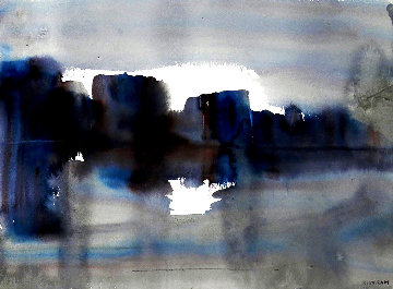 Blue Landscape 1940 15x19 Works on Paper (not prints) - Emil Bisttram