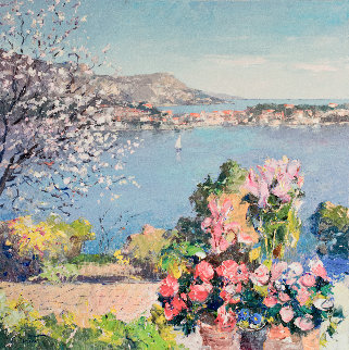 Spring in the French Riviera 39x39 Super Huge Original Painting - Pierre Bittar