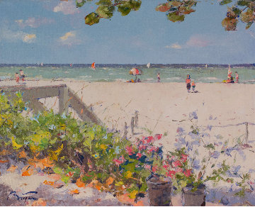 A Naples Beach in Florida 24x28 Original Painting - Pierre Bittar