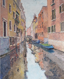 Gondolas in Venice, Italy 38x32 Original Painting - Pierre Bittar