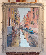 Gondolas in Venice, Italy 38x32 Original Painting by Pierre Bittar - 3