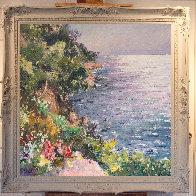 Cliff in the Mediterranean Sea 47x47 Super Huge Original Painting by Pierre Bittar - 1