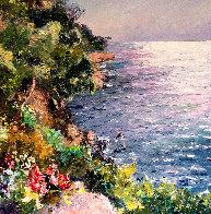 Cliff in the Mediterranean Sea 47x47 Super Huge Original Painting by Pierre Bittar - 0