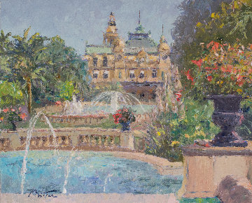 Fountain in Monte Carlo 24x28 Original Painting - Pierre Bittar